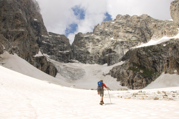 Matt approaches the last remains of Teton Glacier, WY